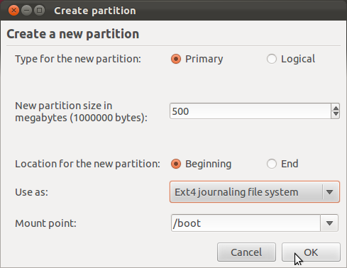 Ubuntu 11.10 Add Boot Partition