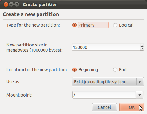 Ubuntu 11.10 Add Root Partition