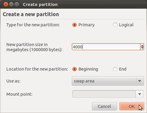 Ubuntu 11.10 Add Swap Partition
