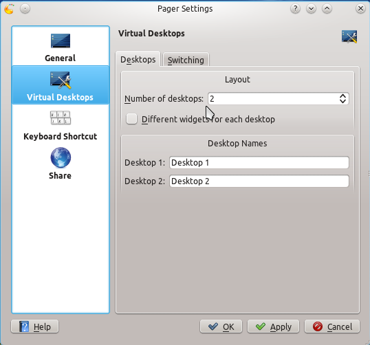 Linux Mint 12 KDE Pager Settings