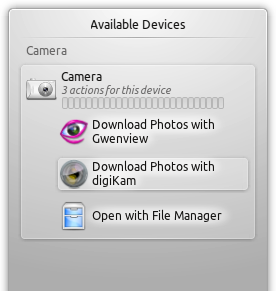 Linux Mint 12 KDE Camera Notification Options