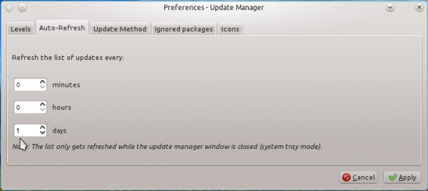 Linux Mint 12 KDE Update Setting