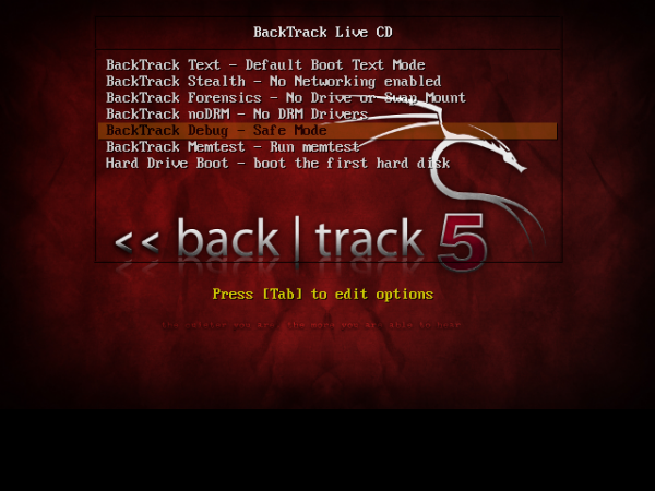 BackTrack 5 Boot Menu