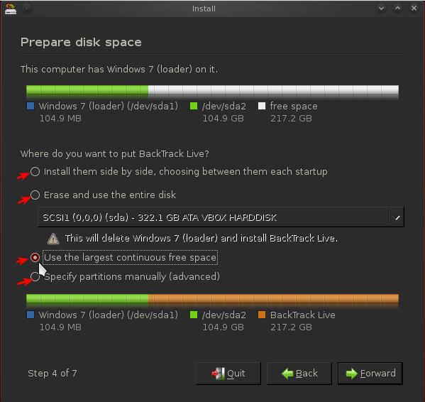 BackTrack 5 R2 Disk Partitioning Options