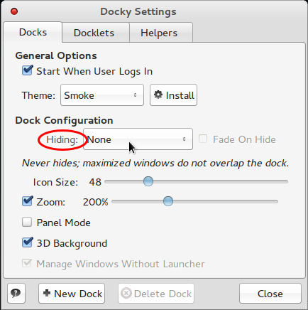 Comice OS 4 Dock Settings