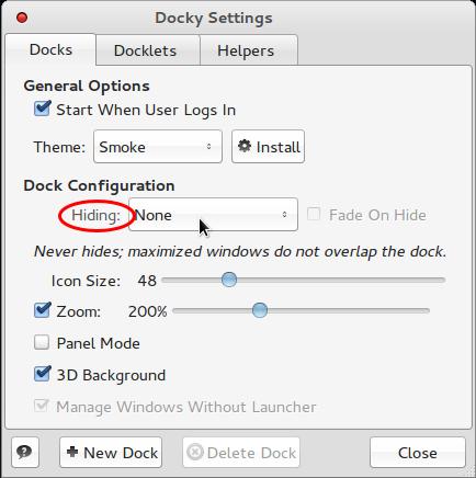 Comice OS 4 Dock Settings