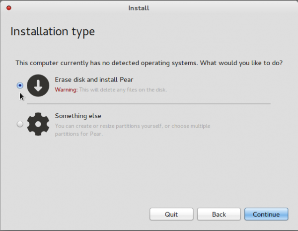 Comice OS 4 Disk Partition Options