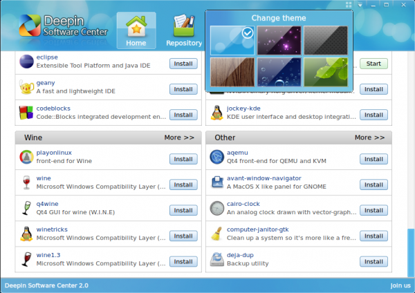 Linux Deepin Software Center Theme Options