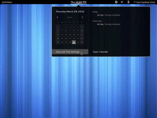 GNOME 3.4 Desktop Calendar