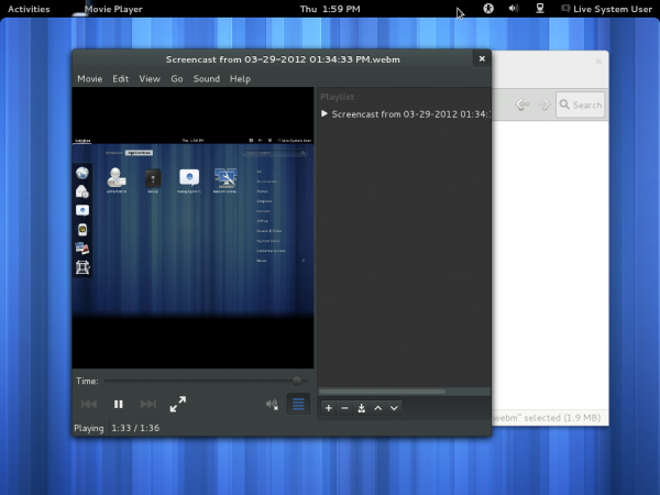 GNOME 3.4 Totem Video Playback