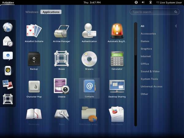 GNOME 3.4 Applications Menu