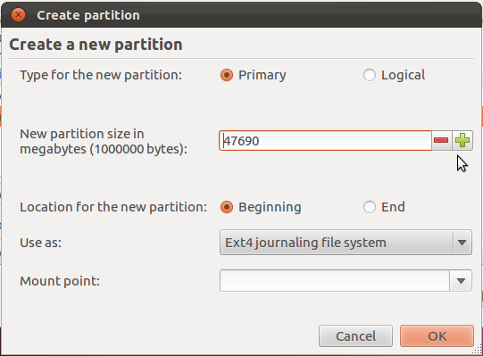 Ubuntu 12.04 Installer Disk Size Partition