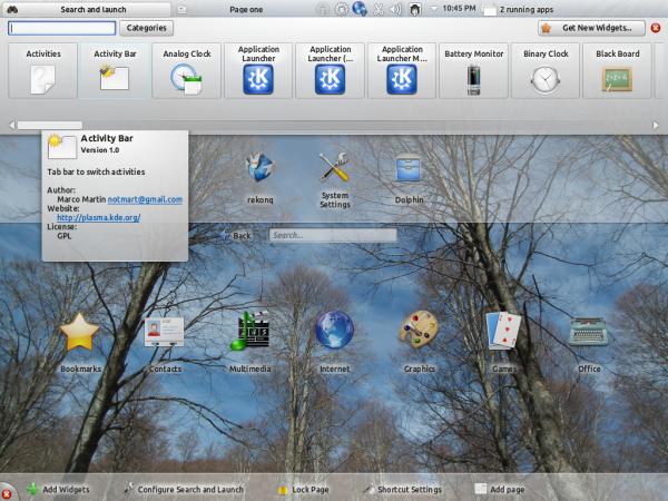 Kubuntu 12.04 Plasma Netbook Widgets