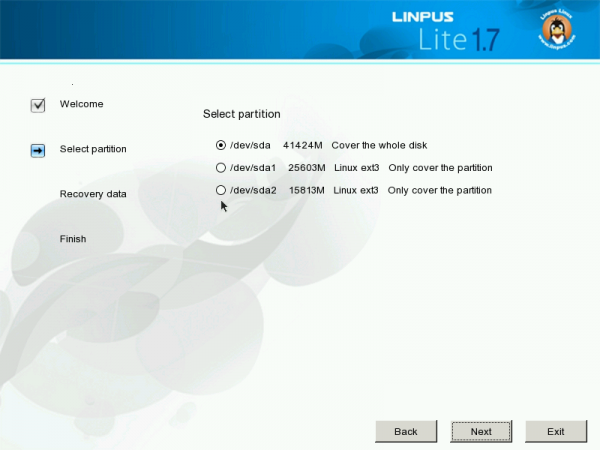 Linpus Lite Desktop 1.7 Partition Options