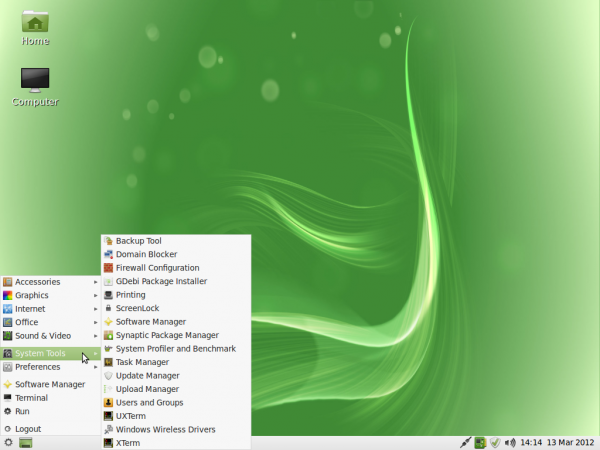 Linux Mint 12 LXDE System Tools