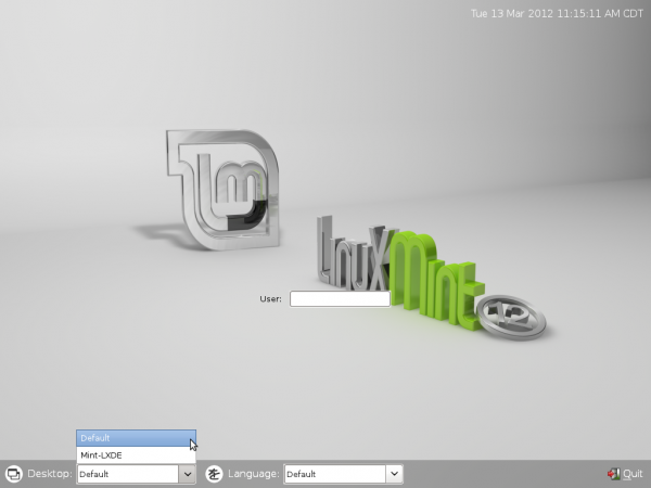 Linux Mint LXDE Login