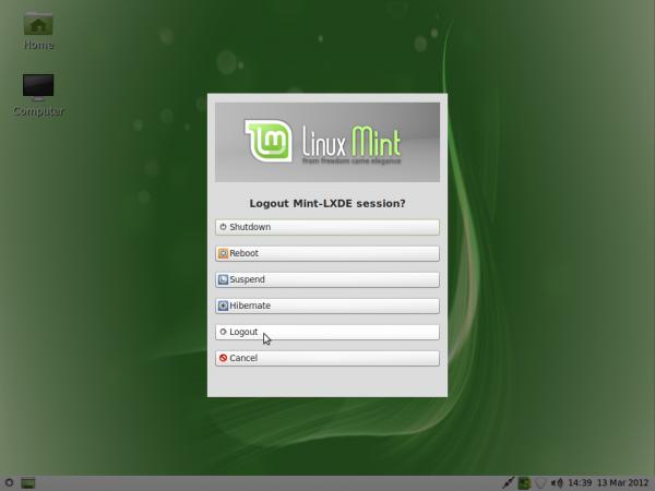 Linux Mint 12 LXDE Logout
