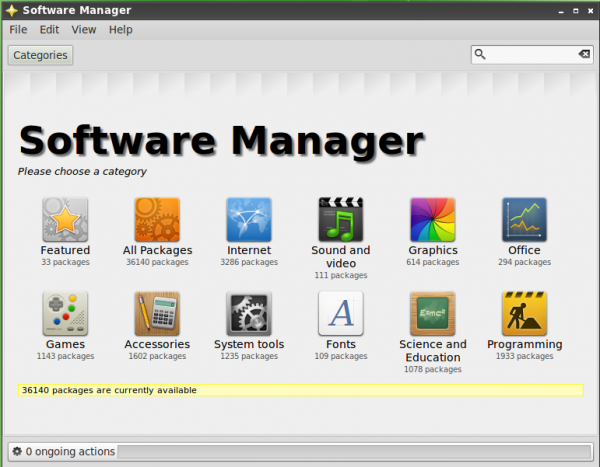 Linux Mint 12 LXDE Software Manager