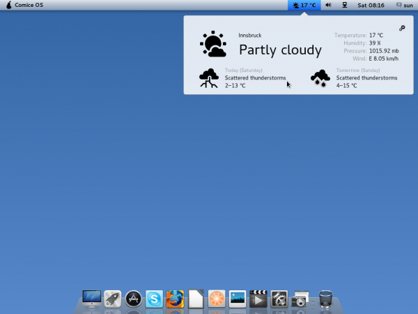 Pear Linux Comice OS 4 Desktop Weather