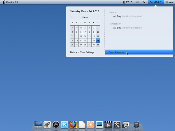 Pear Linux Comice OS 4 Desktop Calendar