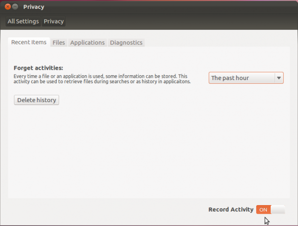 Ubuntu 12.04 Privacy Setting