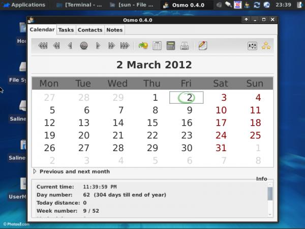 SalineOS 1.6 Osmo Calendar