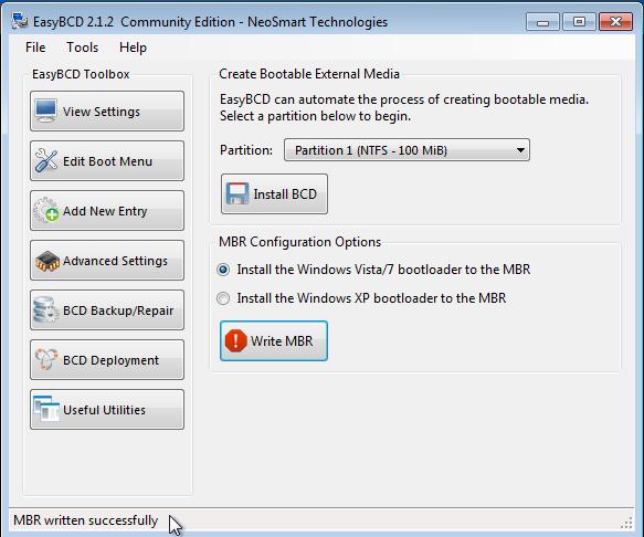 Neosmart EasyBCD Write MBR