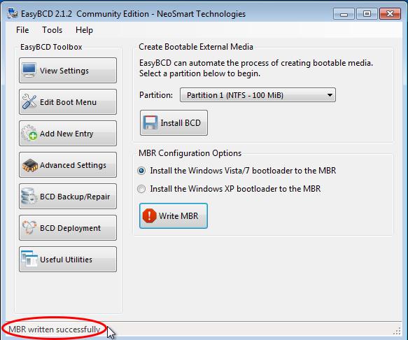 EasyBCD Restore Windows Boot Loader