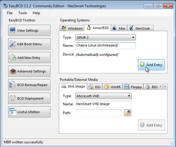 Neosmart EasyBCD Add Chakra Linux Boot Menu