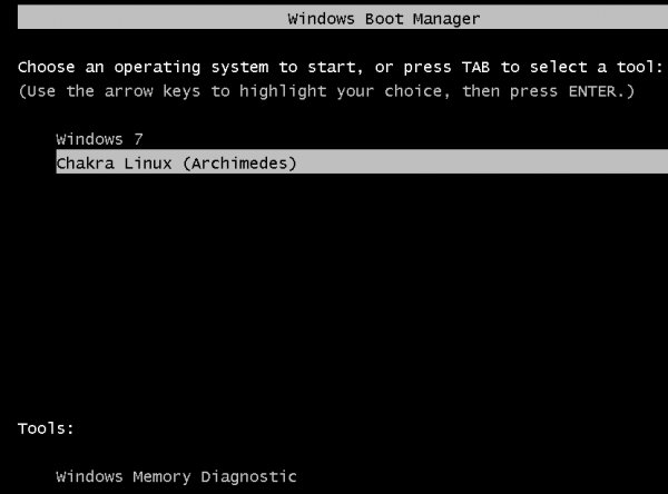 How to dual-boot Windows 7 and Chakra Linux Archimedes, with shared NTFS partition at the end