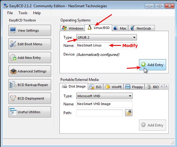 EasyBCD Add Linux Windows Boot Menu