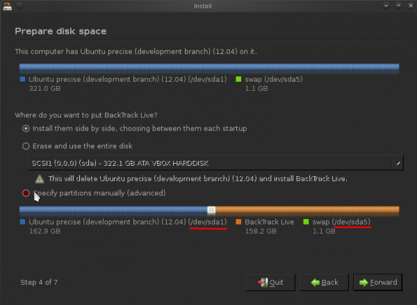 How to dual-boot BackTrack 5 R2 and Ubuntu 12.04