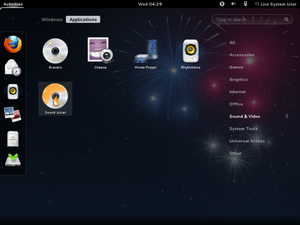 Fedora 17 Beta GNOME Apps