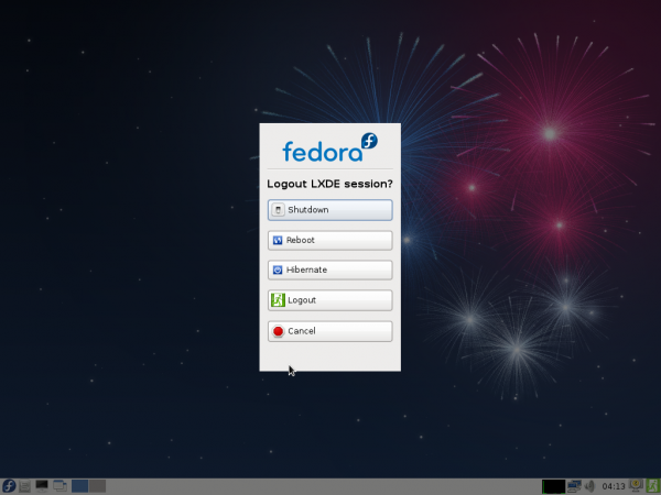 Fedora 17 Beta LXDE Shutdown