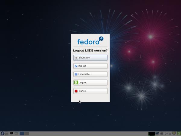 Fedora 17 Beta LXDE Shutdown