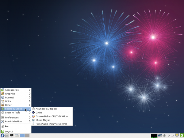 Fedora 17 Beta LXDE Desktop Menu