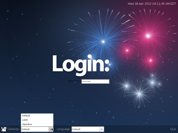 Fedora 17 Beta LXDE Login