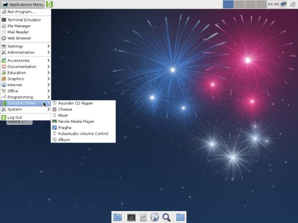 Fedora 17 Beta Xfce Multimedia Apps
