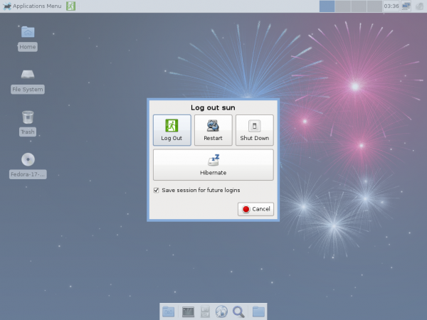 Fedora 17 Beta Xfce Shutdown