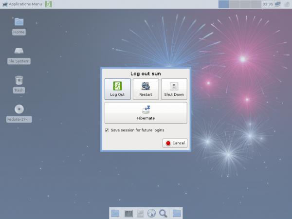 Fedora 17 Beta Xfce Shutdown