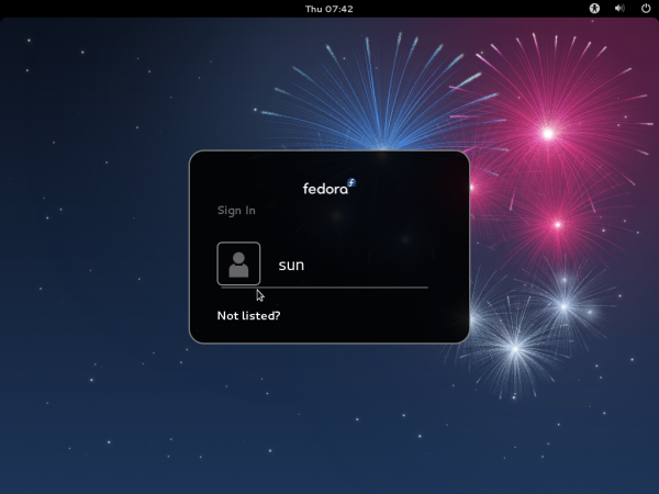 Fedora 17 GNOME Login