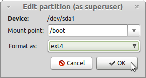 LMDE Edit Boot Partition