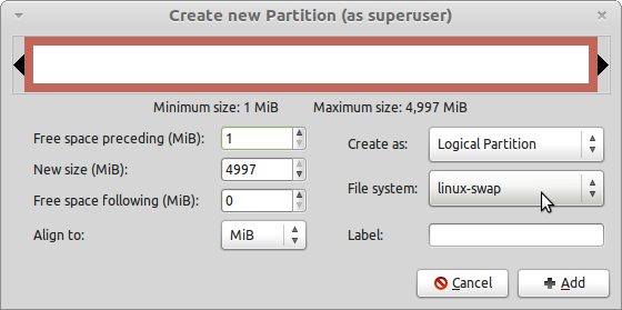 LMDE GParted Create Swap Partition