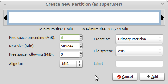 LMDE GParted Partition Creator