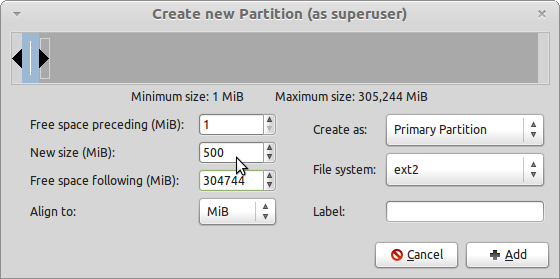 LMDE GParted Create Boot partition
