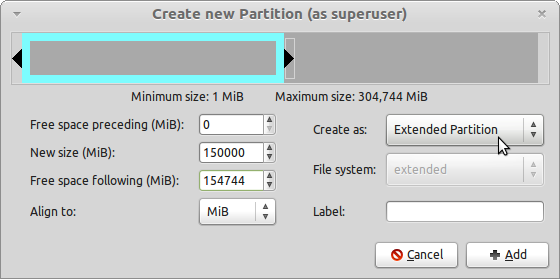 LMDE GParted Create Extended Partition