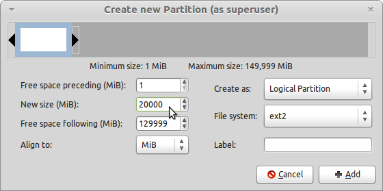 LMDE GParted Create Root Partition