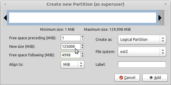 LMDE GParted Create Home Partition