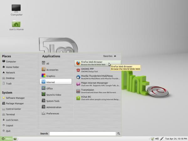 Linux Mint Debian MATE Menu