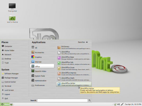 Linux Mint Debian MATE Office Apps